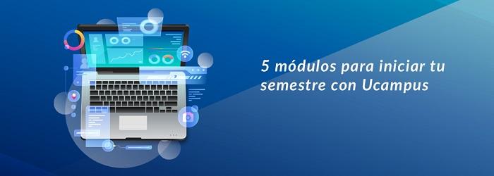Computador muestra ilustración alusiva a cinco módulos virtuales para la educación